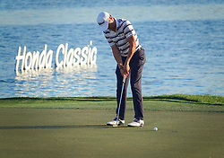 February 28, 2019 - Palm Beach Gardens, Florida, U.S. - JUSTIN THOMAS putts on 18 during the first round of The Honda Classic Thursday, February 28, 2019 at the PGA National Resort & Spa . (Credit Image: © Bruce R. Bennett/The Palm Beach Post via ZUMA Wire)