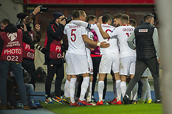March 21, 2019 - Vienna, Austria - Polish players celebrate scoring during the UEFA European Qualifiers 2020 match between Austria and Poland at Ernst Happel Stadium in Vienna, Austria on March 21, 2019  (Credit Image: © Andrew Surma/NurPhoto via ZUMA Press)