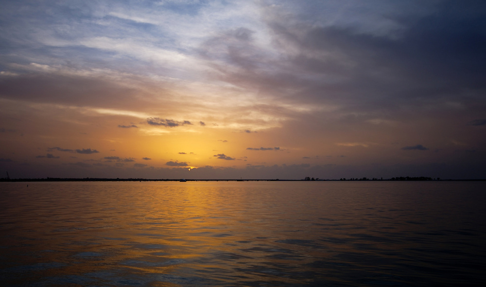 View of Sunset on the Gulf of Mexico, near Lighthouse Point in Sanibel Island Florida.