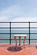 Table viewing the Pacific Ocean from a lighthouse hotel room in Ballenita, Ecuador.