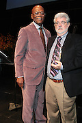 October 16, 2012-New York, NY : Actor Samuel L. Jackson and Director George Lucas at the 3rd Annual National Action Network Triumph Awards held at Jazz at Lincoln Center on October 16, 2012 in New York City. The Triumph Awards were established by the National Action Network to recognize the contributions of humanitarians from all walks of life and to encourage future generations to drum majors for justice. (Terrence Jennings)