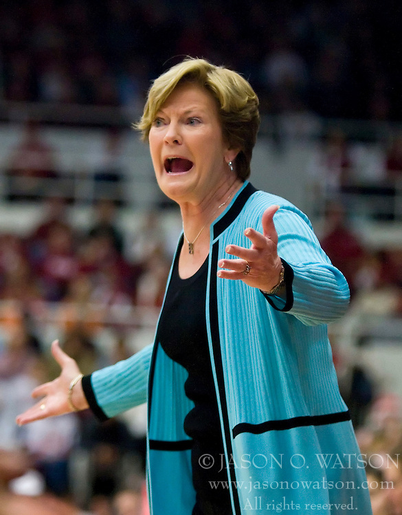 December 19, 2009; Stanford, CA, USA;  Tennessee Lady Volunteers head coach Pat Summitt during the first half against the Stanford Cardinal  at Maples Pavilion.  MStanford defeated Tennessee 67-52.
