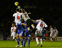 Photo: Steve Bond/Richard Lane Photography. Leicester City v Crystal Palace. E.ON FA Cup Third Round. 03/01/2009. Keeper David Martin punches clear under pressure from Alan Lee (9)