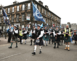 All Under One Banner Independence March, Glasgow, Saturday 4th May 2019<br /> <br /> Pictured: Saor Alba Pipes and Drums<br /> <br /> Alex Todd | Edinburgh Elite media
