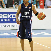 Efes Pilsen's Charles SMITH during their Turkish Basketball league Play Off Final third leg match Fenerbahce Ulker between Efes Pilsen at the Abdi Ipekci Arena in Istanbul Turkey on Tuesday 25 May 2010. Photo by TURKPIX