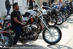 Custom Harley-Davidson Sportster chopper arrives on Saturday outside the Handbuilt Motorcycle Show. Austin, TX, USA. April 9, 2016.  Photography ©2016 Michael Lichter.