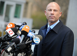 Adult-film star Stormy Daniels' lawyer Michael Avenatti speaks after a hearing in New York City, NY, USA on April 16, 2018. U.S. President Donald Trump's longtime personal lawyer Michael Cohen also arrived at Manhattan Federal Court on Monday for a showdown over documents seized as part of a federal investigation that could cast a harsh light on Trump's business and personal relationships. Photo by Dennis Van Tine/ABCACAPRESS.COM