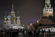 Moscow, Russia, 31/12/2005..Russians celebrate the lengthy New Year and Orthodox Christmas holidays. People gather on Red Square on New Year's eve.