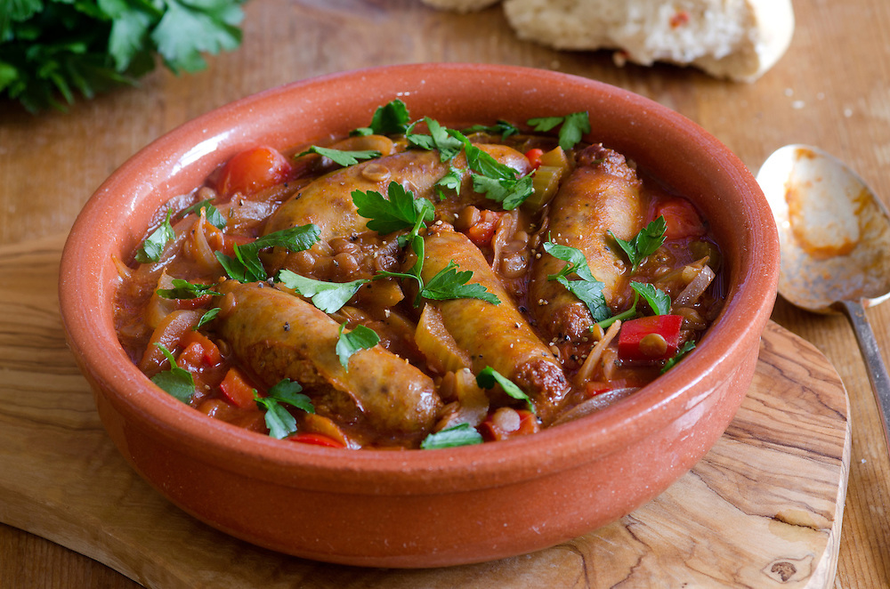 Rustic sausage and lentil one-pot