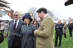 Left to right, MAURICE HENNESSY, HRH The PRINCESS ROYAL and JO THORNTON MD moet Hennessy UK at the Hennessy Gold Cup at Newbury Racecourse, Berkshire on 26th November 2011.