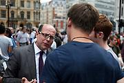 Nick Robinson (born 5 October 1963) is a British journalist and political editor for the BBC. Robinson was interested in politics from a young age, and went on to study a Philosophy, Politics, and Economics degree at Oxford University, where he was also President of the Oxford University Conservative Association. Starting out in broadcasting at Piccadilly Radio, he worked his way up as a producer eventually becoming deputy editor of Panorama, the world's longest-running current affairs programme, before becoming a political correspondent in 1996. He became the BBC's chief political correspondent in 1999, and between 2002 and 2005 he worked for ITV News as political editor, but then returned to the BBC assuming the same role, which he has held since. Noted for his confrontational and provocative approach, Robinson has on several occasions caused a stir with his style of questioning, particularly of world leaders. His history of Conservative affiliation has been controversial, particularly when allegations of bias were made during his coverage of the 2010 United Kingdom general election. He has presented a variety of programmes, including Westminster Live, Weekend Breakfast and Late Night Live on BBC Radio 5 Live, and Newsnight.