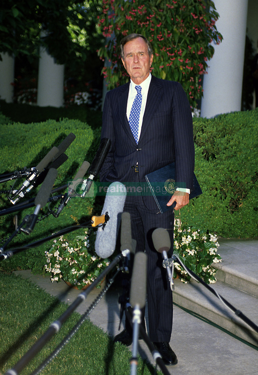 United States President George H.W. Bush holds a press conference in the Rose Garden of the White House in Washington, D.C. following his first day of summit talks with Soviet President Mikhail Gorbachev on May 31, 1990. Photo by Ron Sachs / CNP /ABACAPRESS.COM