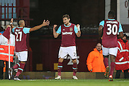 Nikica Jelavic of West Ham United © celebrates with teammate Dimitri Payet (l) after he scores his sides 1st goal to make it 1-0 .The Emirates FA cup, 3rd round match, West Ham Utd v Wolverhampton Wanderers at the Boleyn Ground, Upton Park  in London on Saturday 9th January 2016.<br /> pic by John Patrick Fletcher, Andrew Orchard sports photography.