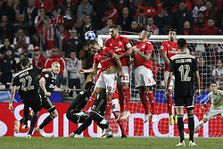 November 7, 2018 - Lisbon, Portugal - Jonas of Benfica  (L)  heads for the ball with Jardel Vieira of Benfica and Ljubomir Fejsa of Benfica  during Champions League 2018/19 match between SL Benfica vs Ajax Amsterdam, in Lisbon, on November 7, 2018. (Credit Image: © Carlos Palma/NurPhoto via ZUMA Press)