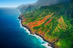 Unnamed waterfalls, Na Pali coast, Kauai, Hawaii, Pacific Ocean