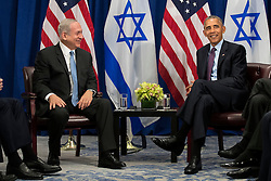 (L to R) Prime Minister of Israel Benjamin Netanyahu and U.S. President Barack Obama meet during a bilateral meeting at the Lotte New York Palace Hotel, September 21, 2016 in New York City. Last week, Israel and the United States agreed to a $38 billion, 10-year aid package for Israel. Obama is expected to discuss the need for a 'two-state solution' for the Israeli-Palestinian conflict. Photo by Drew Angerer/Pool/ABACAPRESS.COM