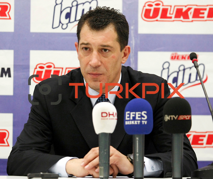 Efes Pilsen's coach Ufuk SARICA during their Turkish Basketball Legague Play-Off semi final first match Fenerbahce between Efes Pilsen at the Sinan Erdem Arena in Istanbul Turkey on Tuesday 24 May 2011. Photo by TURKPIX