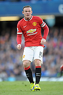 Wayne Rooney, the Manchester United captain looking on. Barclays Premier league match, Chelsea v Manchester Utd at Stamford Bridge Stadium in London on Saturday 18th April 2015.<br /> pic by John Patrick Fletcher, Andrew Orchard sports photography.