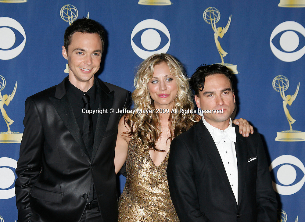 LOS ANGELES, CA. - September 20: Actors Jim Parsons, Kaley Cuoco and Johnny Galecki pose in the press room at the 61st Primetime Emmy Awards held at the Nokia Theatre on September 20, 2009 in Los Angeles, California.