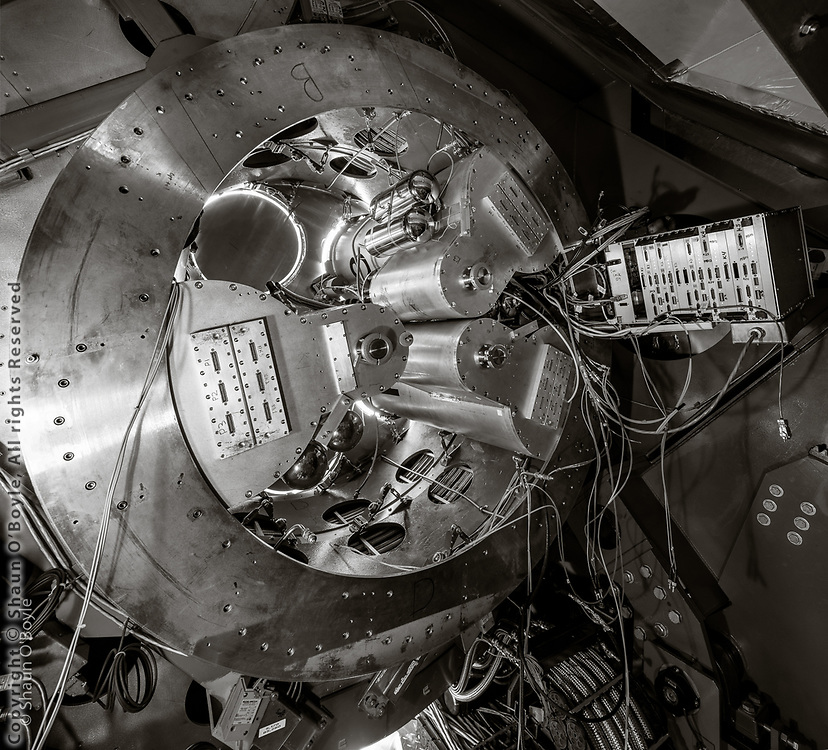 Keck Array telescope with 2 receivers removed and 3 remaining