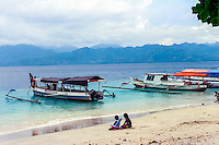 Nusa Tenggara, Lombok, Gili Trawangan. It is easy to get transport to and from the Gili islands with these local boats.