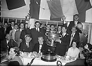 22/09/1957<br /> 09/22/1957<br /> 22 September 1957<br /> <br /> Presenting the Cup after the Louth vs Cork All Ireland Football Final<br /> <br /> <br /> Louth played Cork on 22 September 1957.  The attendance at the match was 72,732, the final score was Louth 1-9 Cork 1-7. This was their third and final All Ireland Final Win - the others having been in 1910 and 1912.