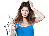beautiful expressive woman on isolated white background in wire panic