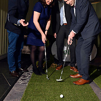 10-4-2018: Minister of State for Tourism and Sport, Brendan Griffin T.D., welcomed 35 of the world's top international golf tour operators to Killarney for Fáilte Ireland's 2018 Golf Ireland Convention, a showcase of the country's top-class golfing experiences on Tuesday. Photo shows Minister Brendan Griffin trying his hand at putting with a little help from Carlton Carugati, IAGTO, Aine Mangan, IAGTO and  Paul Mockler, Fáilte Ireland's Head of Commercial Development  at the Great Southern Hotel, Killarney on Tuesday. <br /> Photo: Don MacMonagle<br /> <br /> pr photo photo Failte Ireland<br /> further information sarah.dolly@failteireland.ie