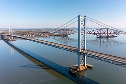 Aerial view from drone of Forth Road Bridge spanning Firth of Forth at South Queensferry, Scotland, UK