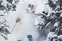 Hannah Follender skiing powder at Snowbird, Utah.