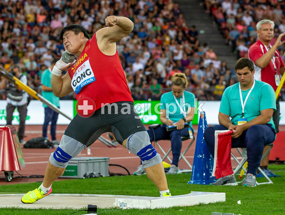 Lijiao GONG of China competes in the Women's Shot Put during the Iaaf Diamond League meeting (Weltklasse Zuerich) at the Letzigrund Stadium in Zurich, Switzerland, Thursday, Aug. 29, 2019. (Photo by Patrick B. Kraemer / MAGICPBK)