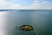Nederland, Noord-Holland, Pampus, 13-06-2017; Forteiland Pampus in het IJmeer, onderdeel van de Stelling van Amsterdam. Rijksmonument, onderdeel van de Werelderfgoedlijst van Unesco. Amsterdam en IJburg in de achtergrond.<br /> Fort Pampus Island in the IJmeer, part of the Defence Line of Amsterdam. Unesco World Heritage.<br /> luchtfoto (toeslag op standaard tarieven);<br /> aerial photo (additional fee required);<br /> copyright foto/photo Siebe Swart