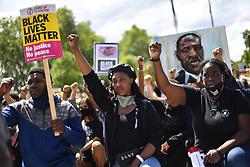 File photo dated 13/06/20 of activist Sasha Johnson (centre) participating in a Black Lives Matter protest rally in Marble Arch, London. The mother-of-three is in a critical condition in hospital after she was shot in the head during the early hours of Sunday.