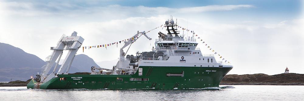 Havila Venus på veg til Ålesund på dåpsdagen sin.