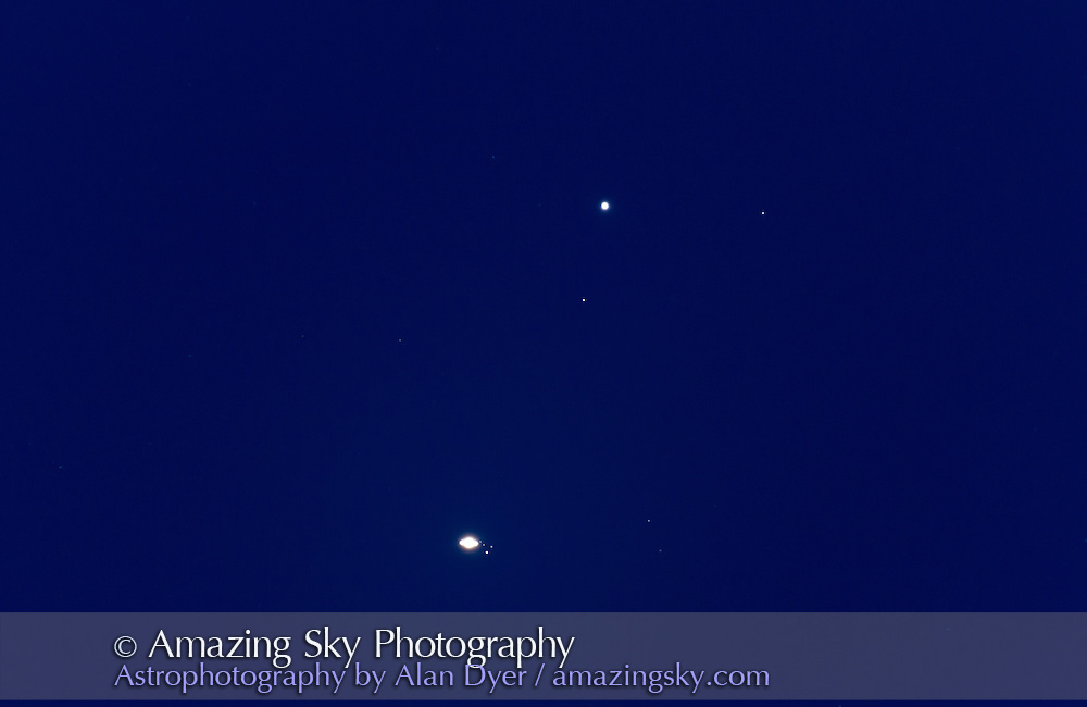 Close conjunction of Saturn with star Gamma Virginis, aka Porrima, in Virgo. The two objects were 16 arc minutes apart. Moon are L to R: Dione, Tethys, Rhea above and Titan brightest object below. This is a stack of five 5 second exposures at ISO 1600 with the Canon 7D camera and the Astro-Physics 130mm refractor at f/12 with the 2x Barlow.