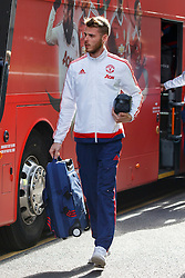 © Licensed to London News Pictures. 20/05/2016. London, UK. Manchester United's goalkeeper DAVID DE GEA and the team arrive at their hotel in Wembley, London on Friday, 20 May 2016, ahead of the FA Cup final against Crystal Palace in Wembley Stadium. Photo credit: Tolga Akmen/LNP