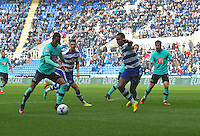 Derby County's Tom Ince (L) in action and Reading's Liam Moore (R) defends<br /> <br /> Reading 1 - 1 Derby County<br /> <br /> Photographer David Horton/CameraSport<br /> <br /> The EFL Sky Bet Championship - Reading v Derby County - Saturday 1st October 2016 - Madejski Stadium - Reading<br /> <br /> World Copyright © 2016 CameraSport. All rights reserved. 43 Linden Ave. Countesthorpe. Leicester. England. LE8 5PG - Tel: +44 (0) 116 277 4147 - admin@camerasport.com - www.camerasport.com