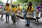 Ebony steel band play in preparation for the upcoming Notting Hill Carnival on August 22nd 2019 in London, England, United Kingdom. An expected 1 million revellers are expected to visit Carnival on the weekend.