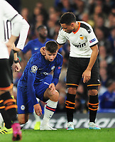 Football - 2019 / 2020 UEFA Champions League - Group H: Chelsea vs. Valencia CF<br /> <br /> Mason Mount of Chelsea is consoled by Ex Arsenal player, Francis Coquelin after being injured and having to leave the field, at Stamford Bridge.<br /> <br /> COLORSPORT/ANDREW COWIE