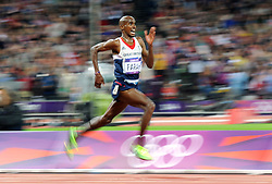 File photo dated 04-08-2012 of Great Britain's Mo Farah in action during the Men's 10,000m Final at the Olympic Stadium, London, on the eighth day of the London 2012 Olympics.