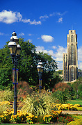 Pittsburgh, PA, University of Pittsburgh, Cathedral of Learning, Gothic Revival Architecture, Architect Charles Klauder, Foreground Schenley Park Phipps Conservatory