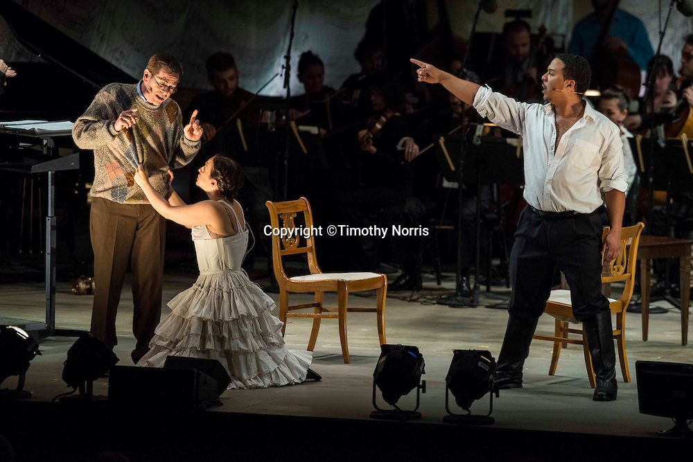 """Keith Jameson (tenor) as """"Snibblesworth"""", Jennifer Zetlan (soprano) as """"Donna Anna"""" and Aubery Allicock (bass-baritone) as """"Don Giovanni"""" in the world premiere of Steven Stucky and Jeremy Denk's The Classical Style: An Opera (of Sorts) at the 68th Ojai Music Festival at Libbey Bowl on June 13, 2014 in Ojai, California."""