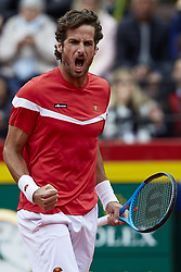 April 7, 2018 - Valencia, Valencia, Spain - Feliciano Lopez of Spain celebrates a point in his doubles match with Marc Lopez of Spain against Tim Putz and Jan-Lennard Struff of Germany during day two of the Davis Cup World Group Quarter Finals match between Spain and Germany at Plaza de Toros de Valencia on April 7, 2018 in Valencia, Spain  (Credit Image: © David Aliaga/NurPhoto via ZUMA Press)