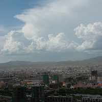 A view of Ullaanbaatar, Mongolia from the Zaisan Monument, which was built by the Soviets to commemorate people killed in World War II.