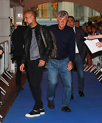 Pep Guardiola and Brian Kidd arriving for the All or Nothing: Manchester City, world premiere at Vue Printworks, Manchester.