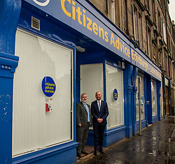 Pictured: Citizens Advice Scotland's CEO Derek Mitchell and Ben Macpherson<br /> Migration Minister Ben Macpherson visited the Citizens Advice Centre in Leith today to  reveal details of the service introduced as a result of Brexit. Mr Macpherson met Citizens Advice Scotland's CEO Derek Mitchell during his visit.<br /> <br /> Ger Harley| EEm 18 December 2018