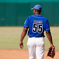 15 February 2009: First base Alexander Mayeta of the Occidentales is seen during a training game of Cuba Baseball Team for the World Baseball Classic 2009. The national team is pitted against itself, divided in two teams called the Occidentales and the Orientales. The Orientales win 12-8, at the Latinoamericano stadium, in la Habana, Cuba.