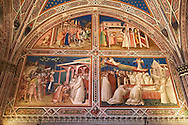 Frescoes of the Sacristy depicting the life of Saint Benedict dating from 1387 and commissioned by Benedetto degli Alberti  .San Miniato al Monte (St. Minias on the Mountain) basilica , Florence, Italy. .<br /> <br /> Visit our ITALY PHOTO COLLECTION for more   photos of Italy to download or buy as prints https://funkystock.photoshelter.com/gallery-collection/2b-Pictures-Images-of-Italy-Photos-of-Italian-Historic-Landmark-Sites/C0000qxA2zGFjd_k<br /> If you prefer to buy from our ALAMY PHOTO LIBRARY  Collection visit : https://www.alamy.com/portfolio/paul-williams-funkystock/florence.html