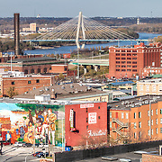 View of Kit Bond Bridge and River Market area from former Folgers Coffee Plant at 8th & Broadway, downtown Kansas City, Missouri. Undergoing renovations into loft apartments by O'Reilly Development Company.