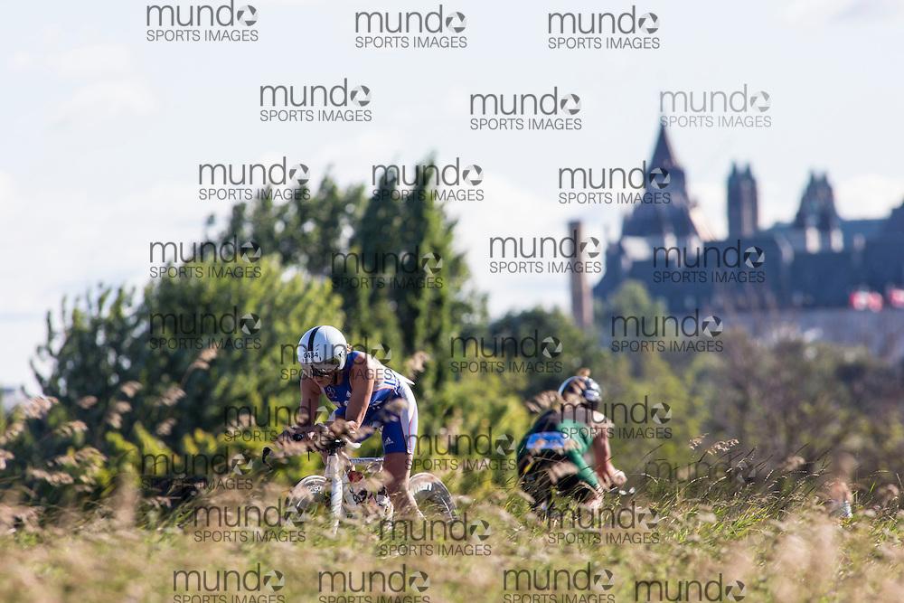 (Ottawa, Canada---10 August 2013)  Gill Fullen (434)  of Great Britain (GBR) competing in the 45-49 Female AG International Triathlon Union 2013 World Duathlon Championships (10 km run- 40 km bike- 5km run).